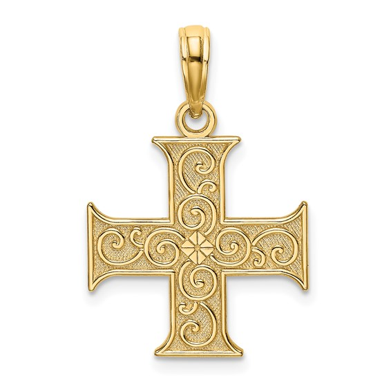 14kt Yellow Gold 5/8in Greek Cross Pendant with Scroll Design