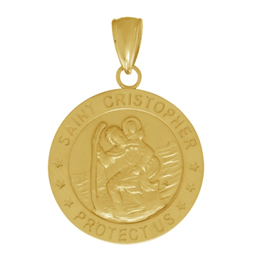 14kt Yellow Gold 18mm Round St Cristopher Medal