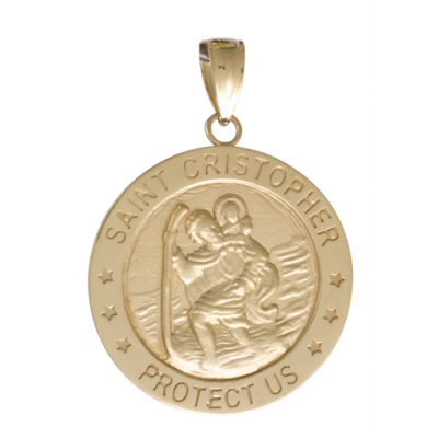 14kt Yellow Gold 7/8in Round St Cristopher Medal