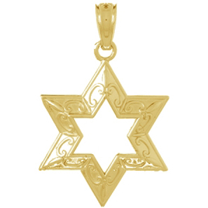 14kt Yellow Gold 1/2in Star of David Cut-out Pendant