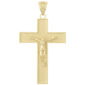 14kt Yellow Gold 1 1/2in Crucifix Pendant