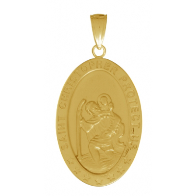 31mm Saint Christopher Oval Medal Pendant 14kt Yellow Gold