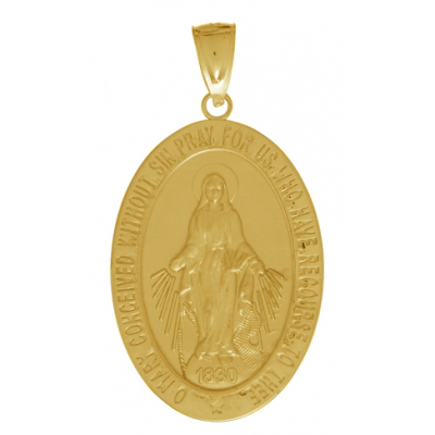 14kt Yellow Gold 33mm Oval Miraculous Medal