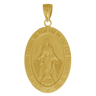 30mm Miraculous Medal Pendant 14kt Yellow Gold