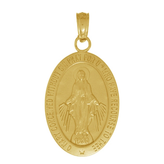 14kt Yellow Gold 5/8in Miraculous Medal Pendant
