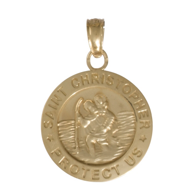 14kt Yellow Gold 1/2in Saint Christopher Pendant