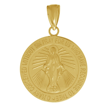 14kt Yellow Gold 16mm Miraculous Medal
