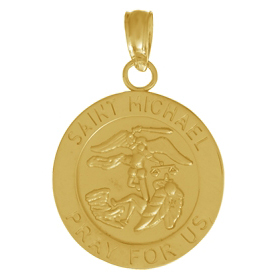 14kt Yellow Gold 1/2in Round Saint Michael Medal Pendant