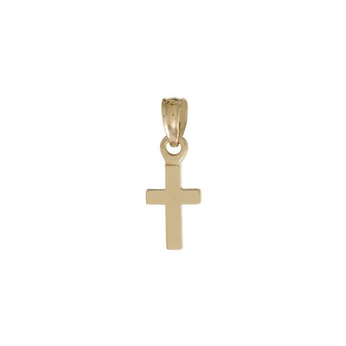 14kt Yellow Gold 1/4in Mini Cross Pendant Charm