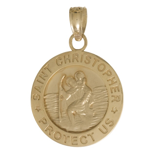 14kt Yellow Gold 1/2in Saint Christopher Coin Pendant