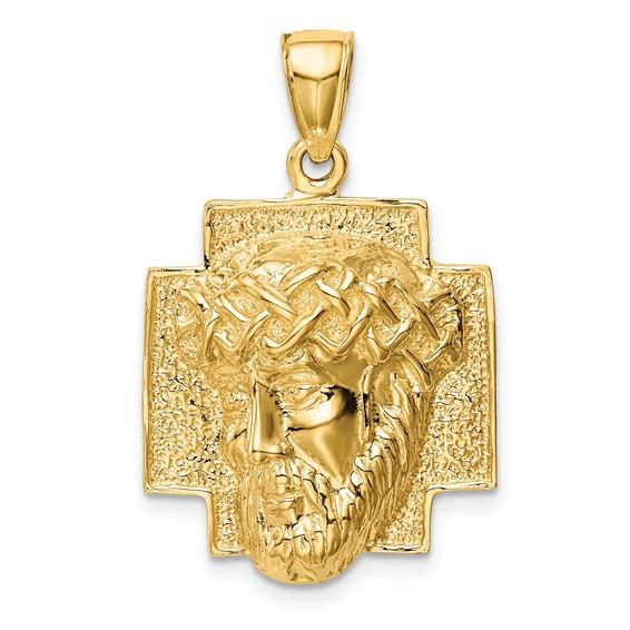 14kt Yellow Gold 5/8in Jesus Head Pendant