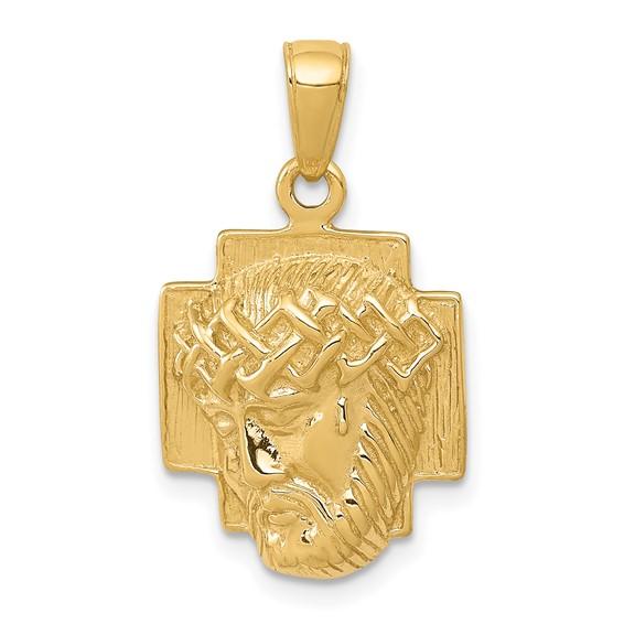 20mm Jesus Head Pendant 14kt Yellow Gold