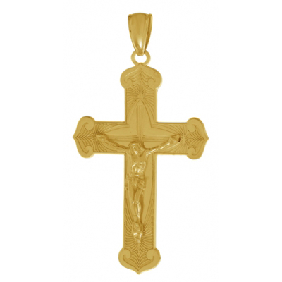 14kt Yellow Gold 1 1/2in Large Budded Crucifix Pendant