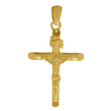 14kt Yellow Gold 3/4in INRI Crucifix Pendant with Beveled Tips