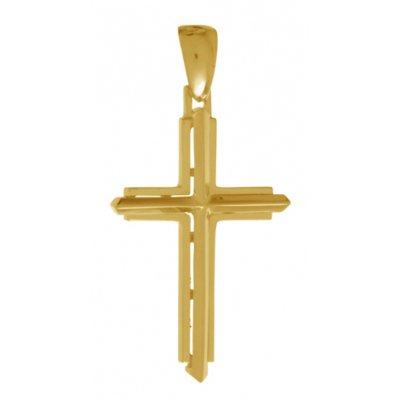 32mm Stick Cross Pendant 14kt Yellow Gold