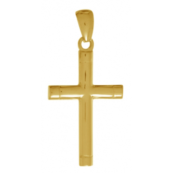 32mm Tubular Cross Pendant 14kt Yellow Gold
