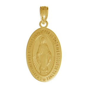 14kt Yellow Gold 1/2in Oval Miraculous Medal Charm
