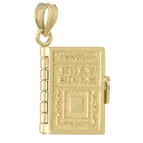 14kt Yellow Gold Moveable Holy Bible Book Pendant