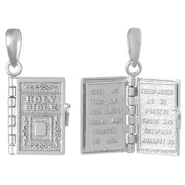 Sterling Silver Moveable Holy Bible Book Pendant