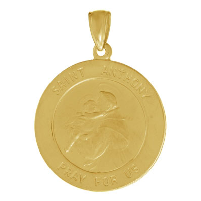 27mm Saint Anthony Medal Pendant 14kt Yellow Gold