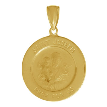 14kt Yellow Gold 5/8in Round Saint Joseph Medal Pendant