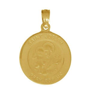 14kt Yellow Gold 1/2in Round Saint Joseph Medal