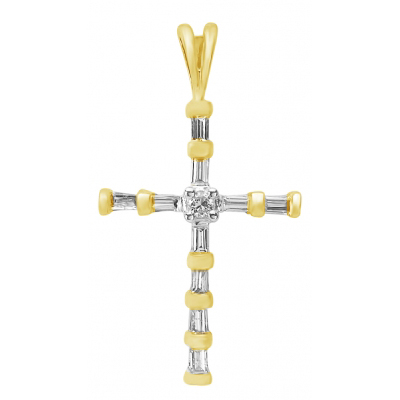 24mm Cross Pendant with Diamond Accents 14kt Yellow Gold