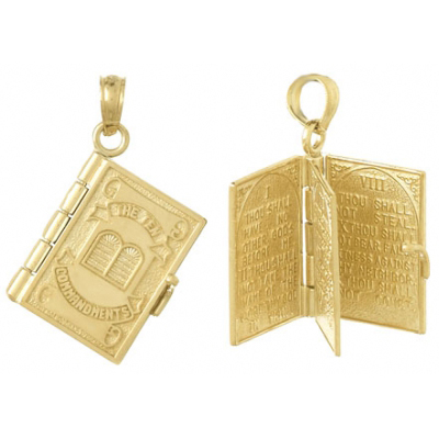 14kt Yellow Gold Moveable Ten Commandments Book Pendant