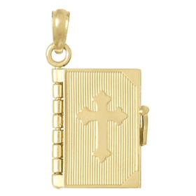 19mm Holy Bible Book Pendant 14kt Yellow Gold