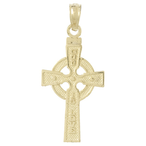 14kt Yellow Gold 1in God Is Love Celtic Cross Pendant