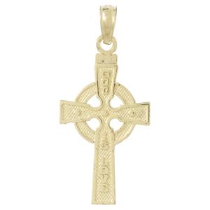 14kt Yellow Gold 1in God Is Love Celtic Cross Pendant