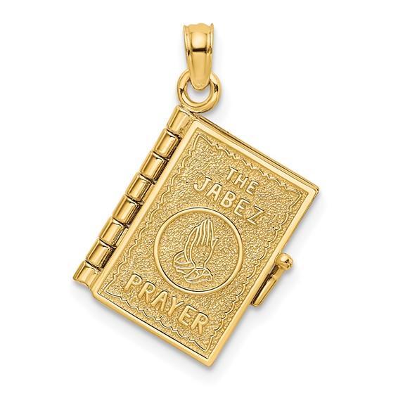 19mm Prayer of Jabez Book Pendant 14kt Yellow Gold
