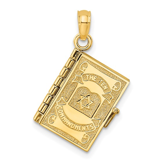 14kt Yellow Gold 1/2in Hebrew Ten Commandments Book Pendant