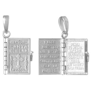 Spanish Bible Book Pendant Sterling Silver