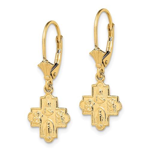 14kt Yellow Gold 4-Way Cross Leverback Earrings