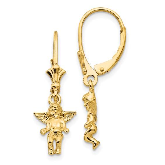 14kt Yellow Gold Cherub Angel Leverback Earrings