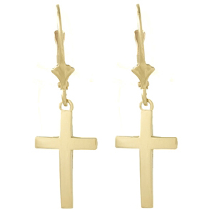 14kt Yellow Gold Beveled Cross Leverback Earrings