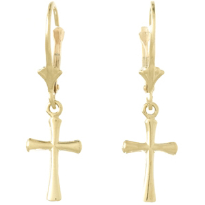 14kt Yellow Gold Crusader Style Cross Leverback Earrings