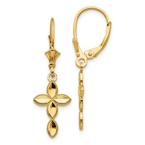 14kt Yellow Gold Marquis Cross Leverback Earrings