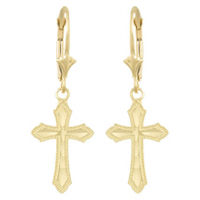 14kt Yellow Gold Diamond Cut Cross Leverback Earrings