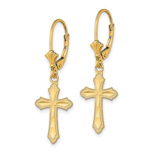 14kt Yellow Gold Diamond Cut Cross Leverback Earrings