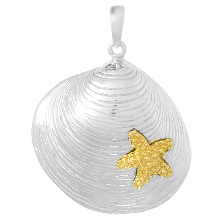 Sterling Silver 1in Shell Pendant with 14kt Gold Starfish