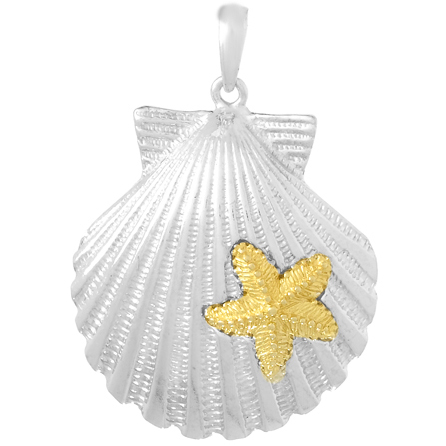 Sterling Silver 1in Scallop Shell Pendant with 14kt Gold Starfish