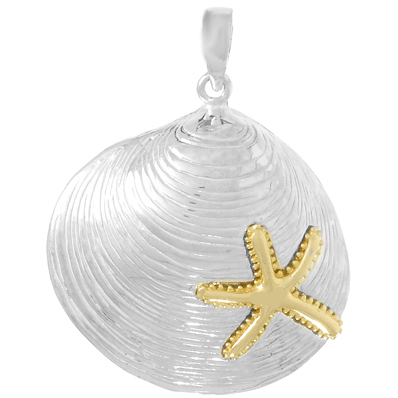 Sterling Silver 1in Clam Shell Pendant with 14kt Gold Starfish Accent