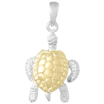 Sterling Silver and 14kt Gold 3/4in Moveable Sea Turtle Pendant