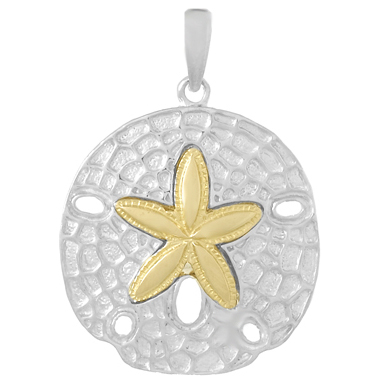 Sterling Silver 7/8in Sand Dollar Pendant with 14kt Gold Star