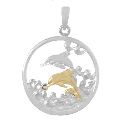 Sterling Silver 21mm Round Pendant with 14kt Gold Dolphin