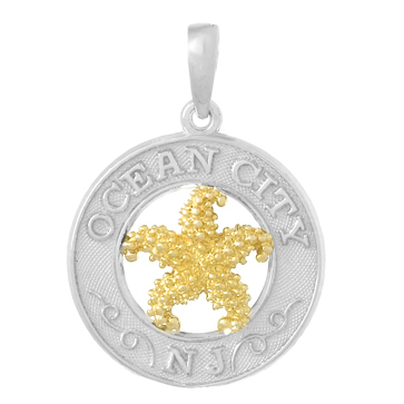 Sterling Silver 3/4in Ocean City Pendant with 14kt Gold Starfish