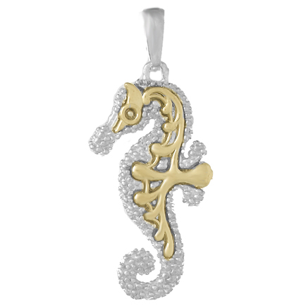 Sterling Silver 7/8in Seahorse Pendant with 14kt Gold Accents