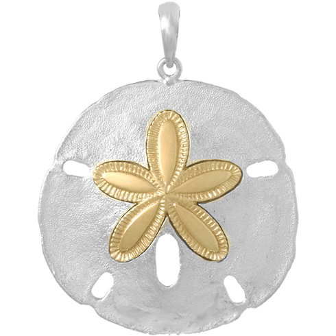 Sterling Silver 1 3/8in Sand Dollar Pendant with 14kt Gold Star